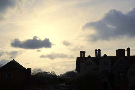 packwood: Stately home at sunset Stock Photo