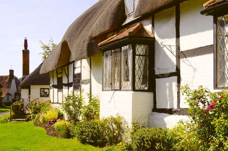 thatched house: Old cottage Stock Photo