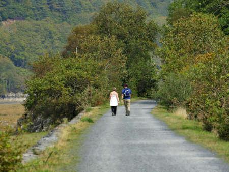 rambling: Mawddach cycle and hiking trail between barmouth and Dolgellau along the estuary gwynedd North Wales UK