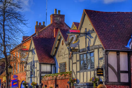 avon: Old half timbered houses in the centre of Stratford upon Avon uk