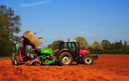 ploughing field: Agriculture in the English countryside Stock Photo
