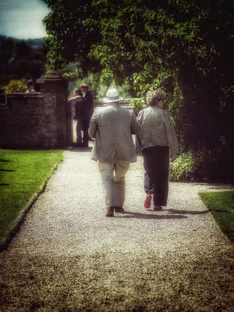 stately home: Tourists at English stately home Stock Photo