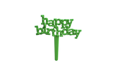 topper: Green Happy Birthday Muffin Topper