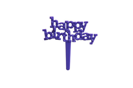 topper: Purple Happy Birthday Muffin Topper