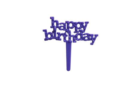 topper: Purple Happy Birthday Muffin Topper