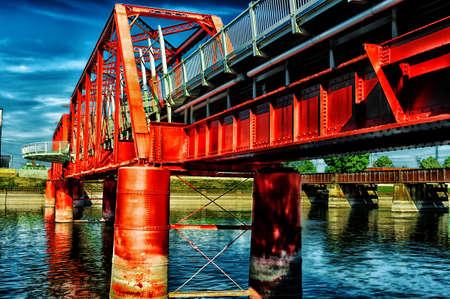 pedestrian bridge: Railroad bridge that was converted to a pedestrian bridge over the river