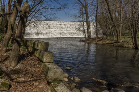 downstream: Stepped spillway waterfall in north central Iowa Stock Photo