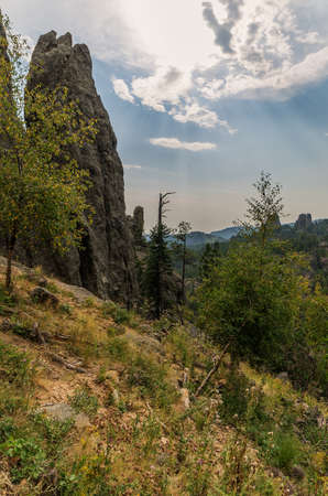 mount rushmore: Needles Highway in the Black Hills of South Dakota, near Mount Rushmore National Monument Stock Photo