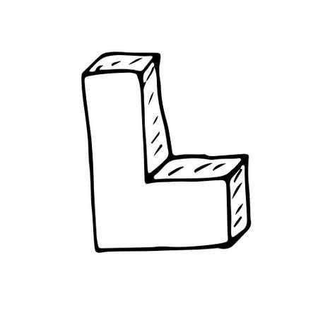 l hand: English alphabet - hand drawn letter L