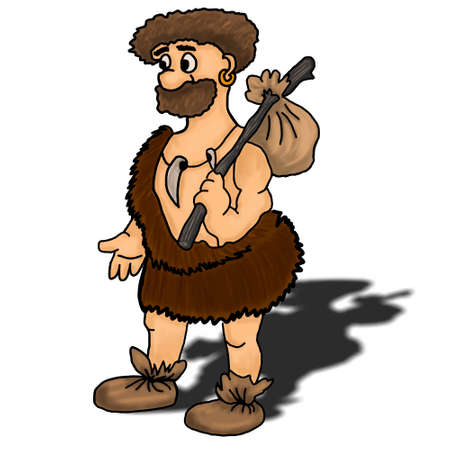 loveable: Ancient man vector illustration happy, humour, hunter