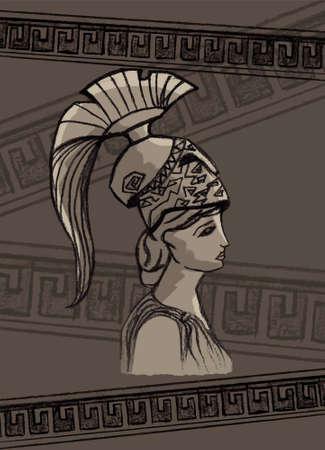 athena: Athena drawing vector illustration set art sign