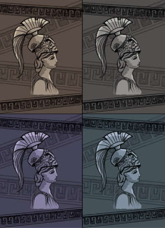 sparta: Athena drawing vector illustration set art sign