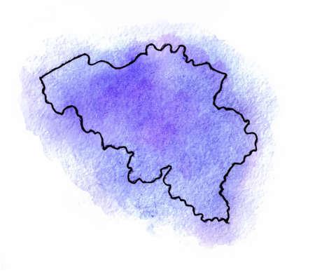 shilouette: Belgium vector watercolor map illustration set world