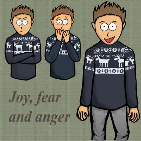 Boy emotion illustration kid, laugh, people, person Vector