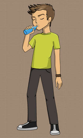 man drinking water: Boy drinking illustration eps, example, exercise, explanation