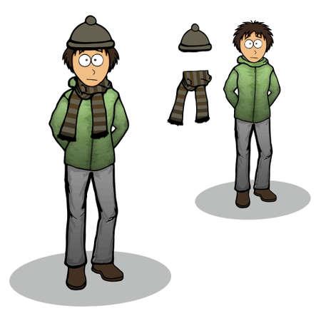 winter jacket: Boy in a winter jacket illustration cartoon Illustration