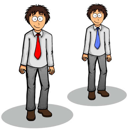 happiness or success: Boy standing vector illustration cute, drawing, expression, friendly