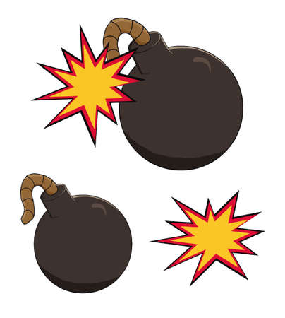 cartoon bomb: Illustration of a cartoon bomb icon about to explode with burning wick, isolated Illustration