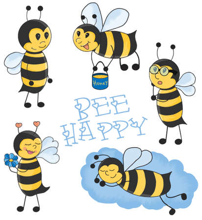 small group of objects: Cartoon Bees illustration set.