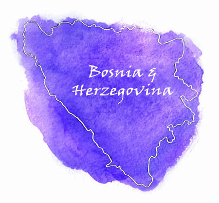bosnia: Bosnia & Herzegovina watercolor map illustration