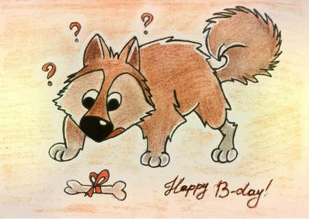wagging: Cartoon dog with bone illustration set Illustration