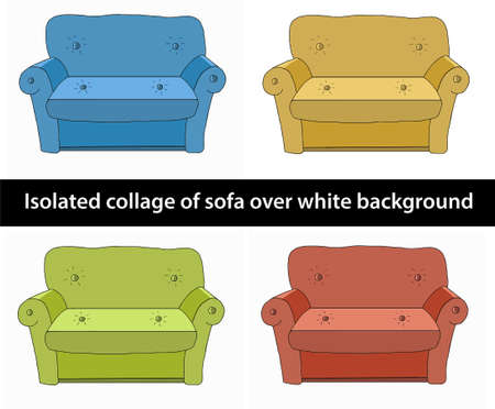 white sofa: Isolated collage of sofa over white background