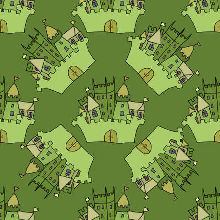 fortress: Castle seamless pattern illustration  flag, fortress