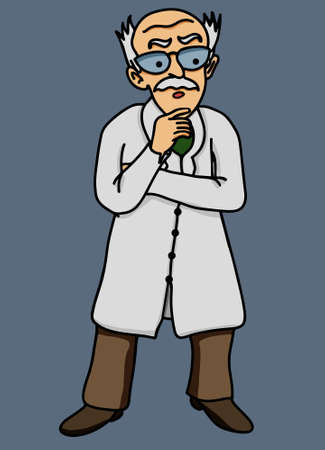 disgruntled: Scientist old man disgruntled illustration comic Illustration