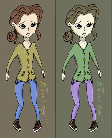 sad teenage girl: Anorexia girl illustration fitness health weight Illustration