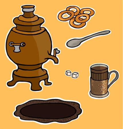taste: Russian tea ceremony illustration set taste