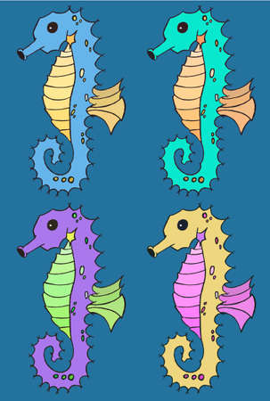 horse fish: Seahorse cartoon illustration set art draw