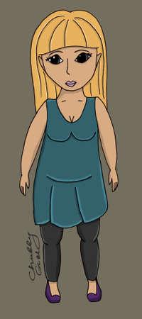 Chubby body girl illustration set world