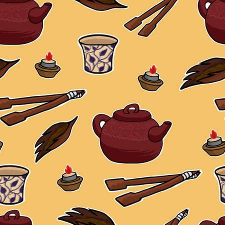 tea ceremony: Chinese tea ceremony pattern illustration set
