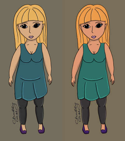Chubby fille corps illustration manche monde