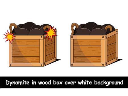 Dynamite in houten doos op een witte achtergrond illustratie
