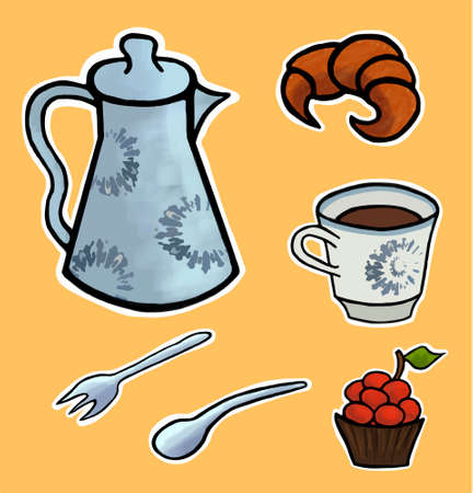 tea ceremony: English tea ceremony illustration set uk