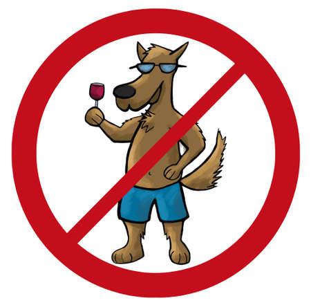 illegal zone: dog no sign cartoon illustration pets
