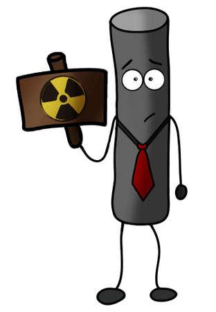gas mask warning sign: Radioactive particle warning illustration power, protection Illustration