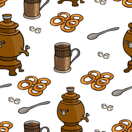 tea ceremony: Russian tea ceremony seamless pattern illustration