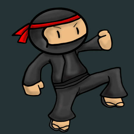 Ninja asia cartoon danger character illustration
