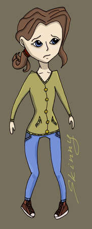 anorexia: Anorexia girl illustration fitness health weight Illustration