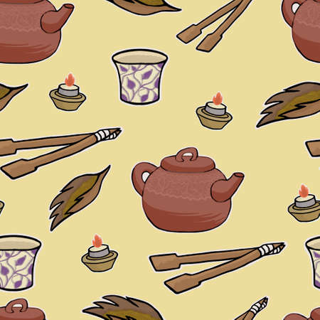 tea ceremony: Chinese tea ceremony vector pattern illustration set