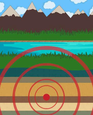 river rock: Earthquake vector illustration risk, river, rock, science