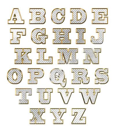 Alfabeto inglese del testo oro illustrazione vettoriale set