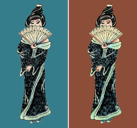 geisha: Hand drawn geisha illustration set east girl Illustration