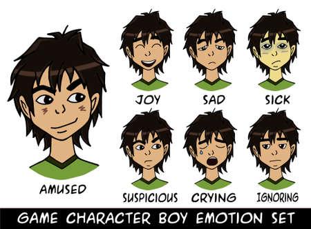 emociones de carácter de niño juego establece la ilustración. Hecho con amor