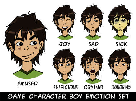 animation teenagers: game character boy emotions set illustration. Made with love