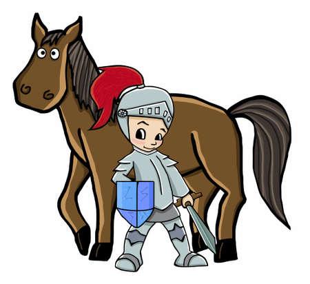 horse and knight illustration cartoon animal