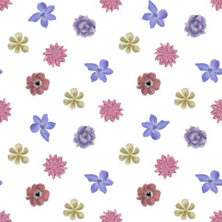 garden flowers: Flower retro pattern seamless  illustration set Illustration