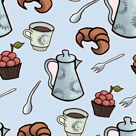 tea ceremony: English tea ceremony seamless pattern illustration